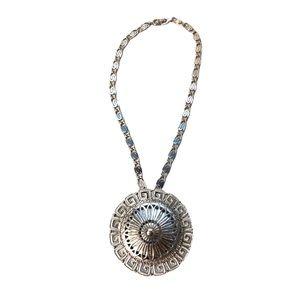 Vintage Monet Medallion Greek Key Silver Large